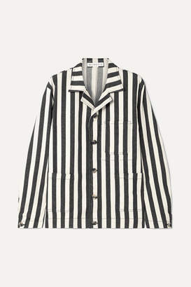 REJINA PYO Billie Striped Denim Jacket - Black