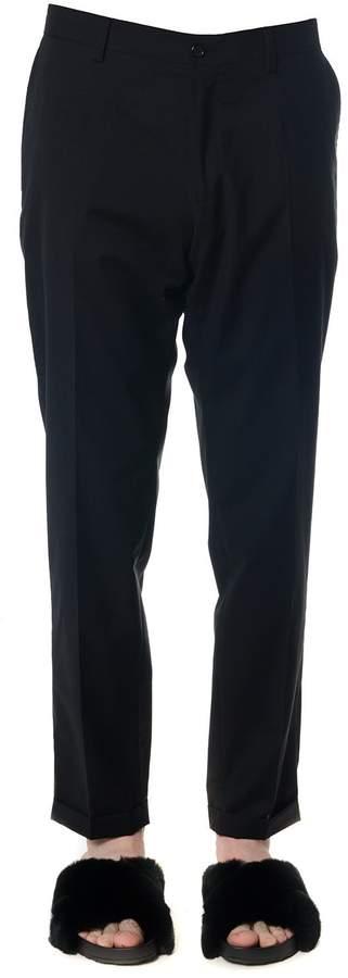 Dolce & Gabbana Black Wool-cotton Blend Trousers