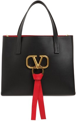 Valentino Small V Ring E/W Leather Tote Bag