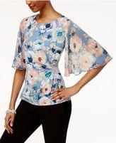 MSK Floral-Print Flutter-Sleeve Evening Blouse
