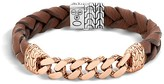 John Hardy Classic Chain Gourmette Bronze & Sterling Silver Bracelet on Braided Brown Leather Cord