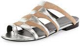 Pierre Hardy Parade Bicolor Toe-Ring Mule Sandal, Nude/Silver