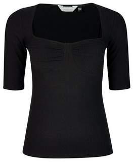 Dorothy Perkins Womens Petite Black Cupped Rib Top, Black
