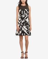 Lauren Ralph Lauren Faux-Leather-Trimmed Jersey Dress