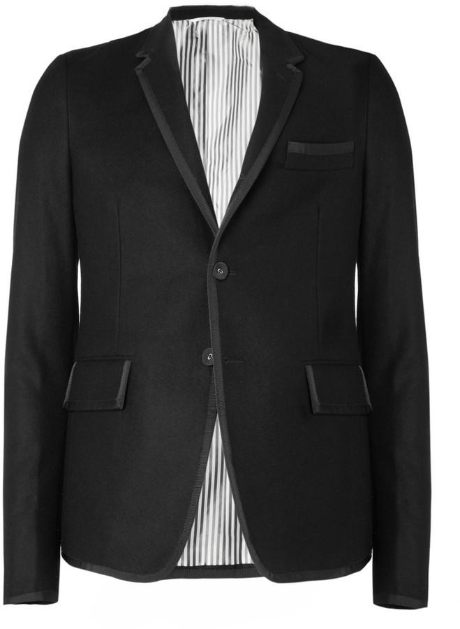 Thom Browne Grosgrain-Trimmed Slim-Fit Flannel Blazer