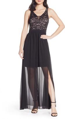 Morgan & Co. Strappy Lace Bodice Chiffon Gown