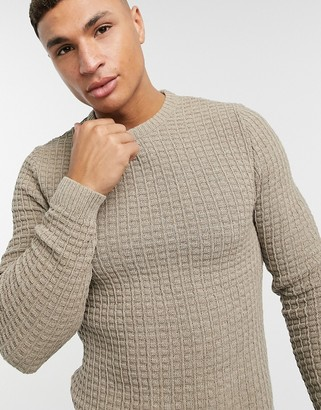 ASOS DESIGN muscle fit waffle knit sweater in oatmeal