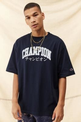 Champion Navy Japanese Varsity T-Shirt - Blue S at Urban Outfitters