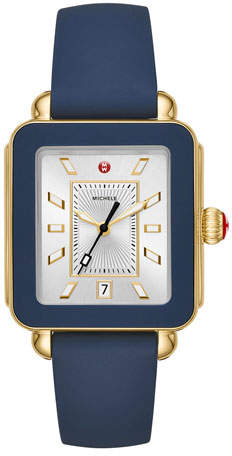 Michele Deco Sport Silicone Watch, Navy