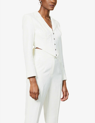 Lavish Alice Cropped V-neck crepe jacket