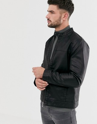 ONLY & SONS faux leather racer jacket-Black
