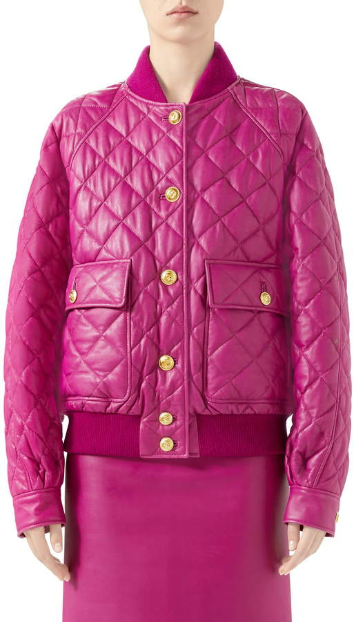 7a66c00a3 Quilted Leather Bomber Jacket
