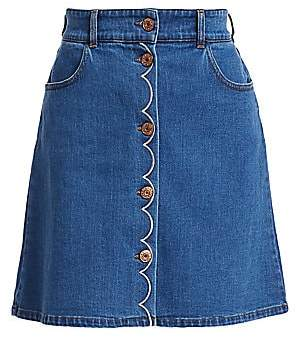 See by Chloe Women's Denim Button-Front A-Line Skirt