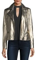 Veronica Beard Mica Metallic Leather Biker Jacket