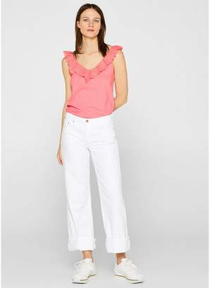 Esprit Cotton Top with Ruffled V-Neck