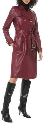 MICHAEL Michael Kors Double-Breasted Leather Trench Coat