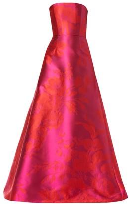 Carolina Herrera Strapless Floral Satin A-Line Gown