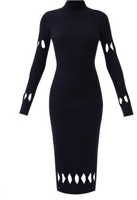 Victoria Beckham Diamond-cutout Roll-neck Wool-blend Sweater Dress - Navy