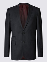 Marks And Spencer Charcoal Textured Slim Fit Suit