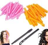 Bathmos 40pcs No Heat Hair Curler Magic Spiral Ringlets Former Leverage Stretched Length 50CM/19IN Circle Roller (pink & orange)