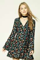 Forever 21 Floral Bell-Sleeve Mini Dress