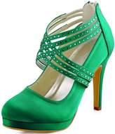 ElegantPark EP11085-PF Women Platform High Heel Closed Toe Cross Strap Rhinestones Satin Wedding Shoes US 11