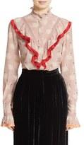 Stella McCartney Women's Swan Print Ruffled Silk Blouse