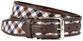 Aquascutum Club Check Leather Edge Belt, Brown