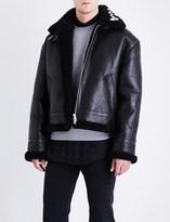 Balenciaga Logo-print leather and shearling jacket