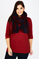 Yours Clothing Wine Red And Navy Checked Blanket Scarf