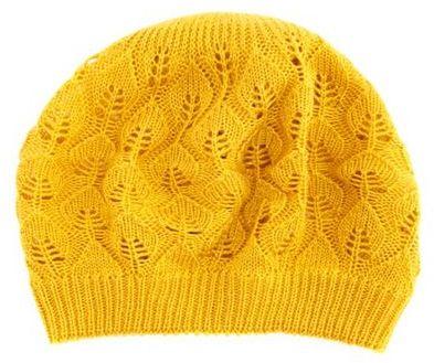 Charlotte Russe Leaf Patterned Knit Beret