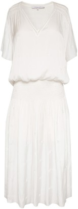 Gerard Darel Solene - Midi Dress With Smocking And Embroidery