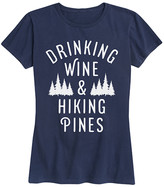 Instant Message Women's Women's Tee Shirts NAVY - Navy 'Drinking Wine & Hiking Pines' Relaxed-Fit Tee - Women