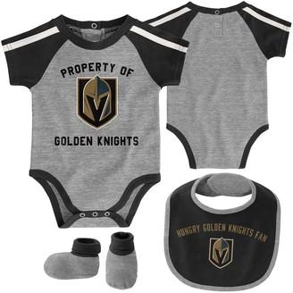 Outerstuff Newborn & Infant Gray/Black Vegas Golden Knights Hard at Play Bib, Booties & Bodysuit Set