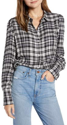 Something Navy Fitted Flannel Top
