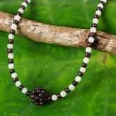 Beaded Garnet Necklace, 'Lunar Sun'