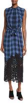 Rebecca Taylor Lace-Hem Plaid Sleeveless Dress, Violet Stone Combo