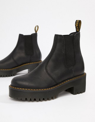 Dr. Martens Rometty Black Leather Chunky Heeled Chelsea Boots