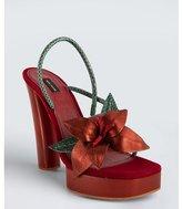 Marc Jacobs rust suede and snakeskin flower platform sandals