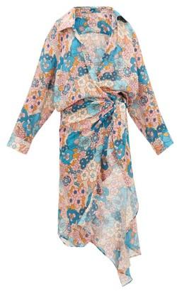 Dodo Bar Or Vivi Floral-print Waterfall-wrap Cotton Dress - Cream Print