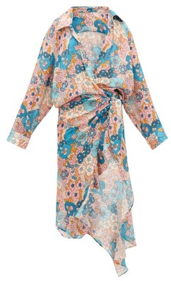 Dodo Bar Or Vivi Floral-print Waterfall-wrap Cotton Dress - Womens - Cream Print