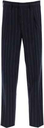 The Gigi TONGA PINSTRIPE TROUSERS 48 Blue, White Wool