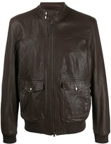 Herno patch pockets leather jacket