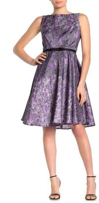 Gabby Skye Belted Floral Fit & Flare Dress