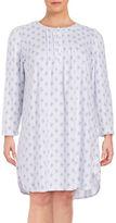 Miss Elaine Plus Floral-Print Lace-Trim Nightgown