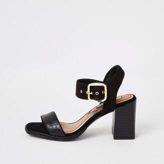 River Island Womens Black two part block heel sandals