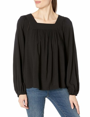 James & Erin Women's Square Neck Top with Stitch Detail