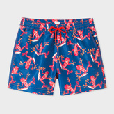 Paul Smith Men's Navy 'Leopard Frog' Print Swim Shorts