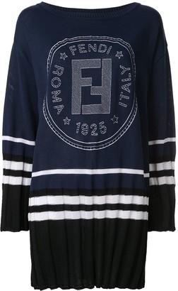 Fendi Pre Owned Logo Print Sweater Dress