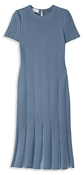 St. John Pleated Short Sleeve Knit Dress